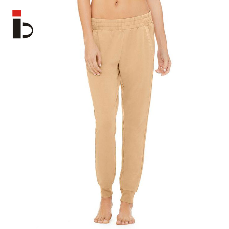 Custom wholesale newest design elastic waist jogger sweatpants with pocket for women