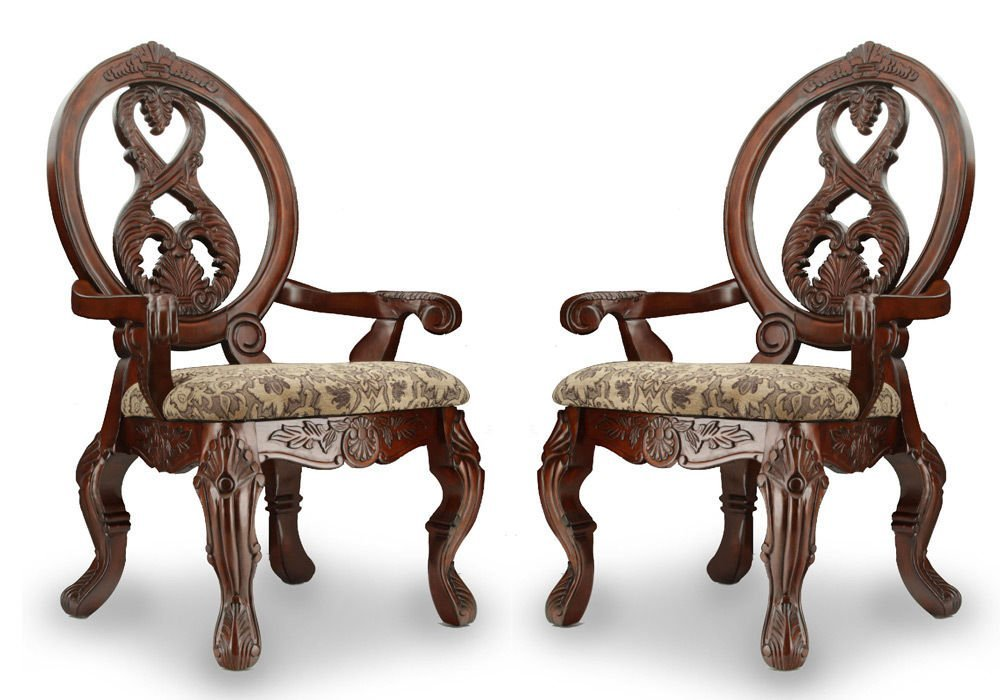 1PerfectChoice Tuscany Formal Set of 2 Dining Arm Chairs Carved Round Back Antique Cherry Wood