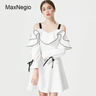 Maxnegio OEM Boutique White Ruffle Long Sleeve Strapless Woman Dress