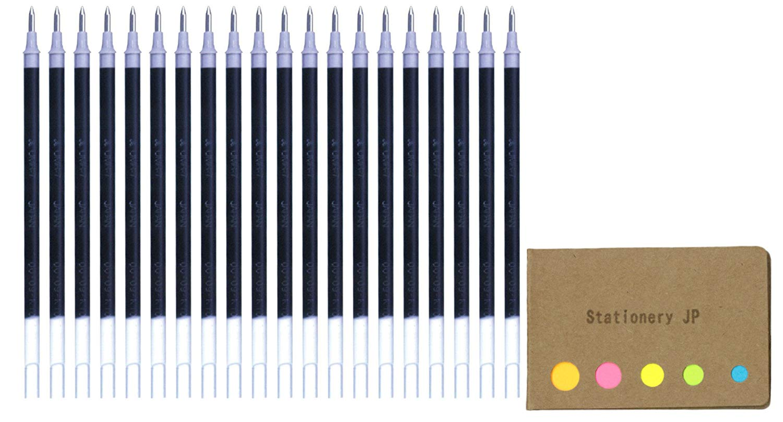 Uni-ball UMR-7 Refills for Gel Ink Ballpoint Pen, 0.7mm, Black Ink, 20-pack, Sticky Notes Value Set