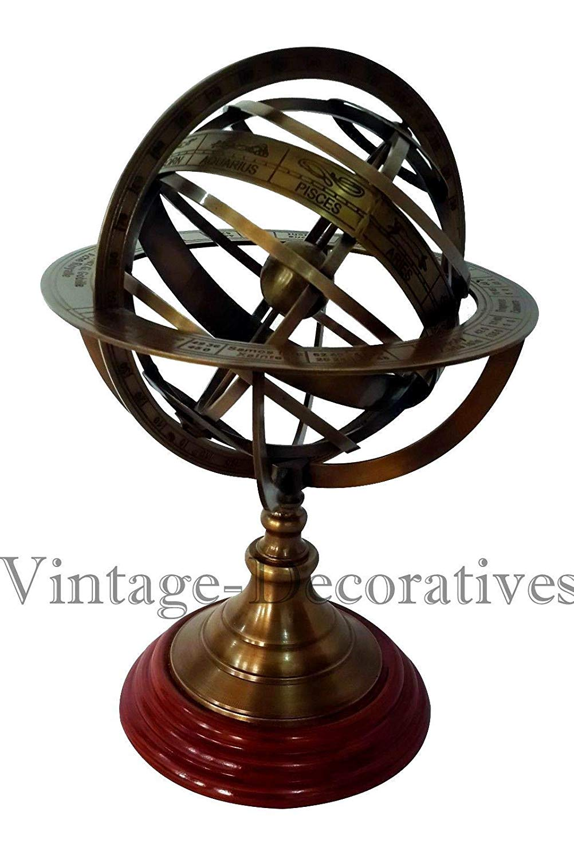 "Shaheera Nautical Solid Brass Armillary Sphere Handmade Vintage Astrolabe Table Top Armillary 12"""
