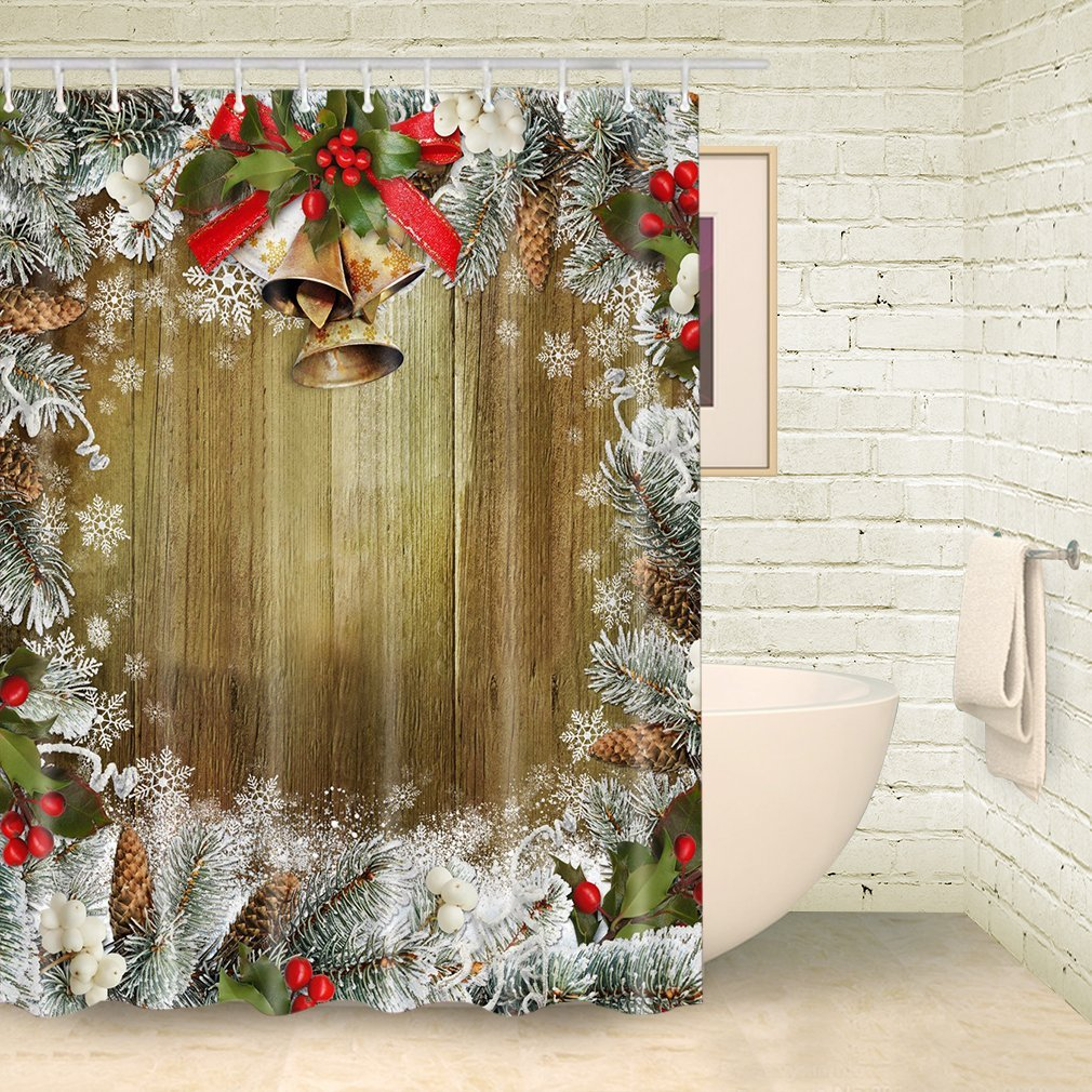 Get Quotations FOOG Christmas Shower Curtain Pine Nuts Snowflake Brown Wood Bathroom Waterproof Fabric With