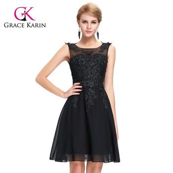 Grace Karin Sleeveless Crew Neck Black Chiffon Short Prom Dress ...