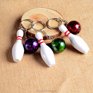 Sports Series Promotional Customized Plastic Bowling Pin Keychain