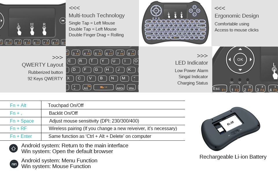 (updated 2017,Backlight) Rii I8+ 2 4ghz Mini Wireless Keyboard With  Touch-pad Mouse,Led Backbit,Rechargeable Li-ion Battery-b - Buy Backlight