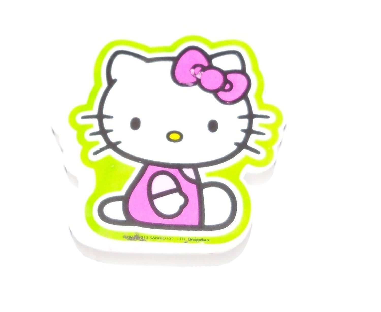 "Hello Kitty Jumbo Shaped Eraser ~ Sitting Kitty with Green Outline (1 Eraser; 3"" x 2.25"")"