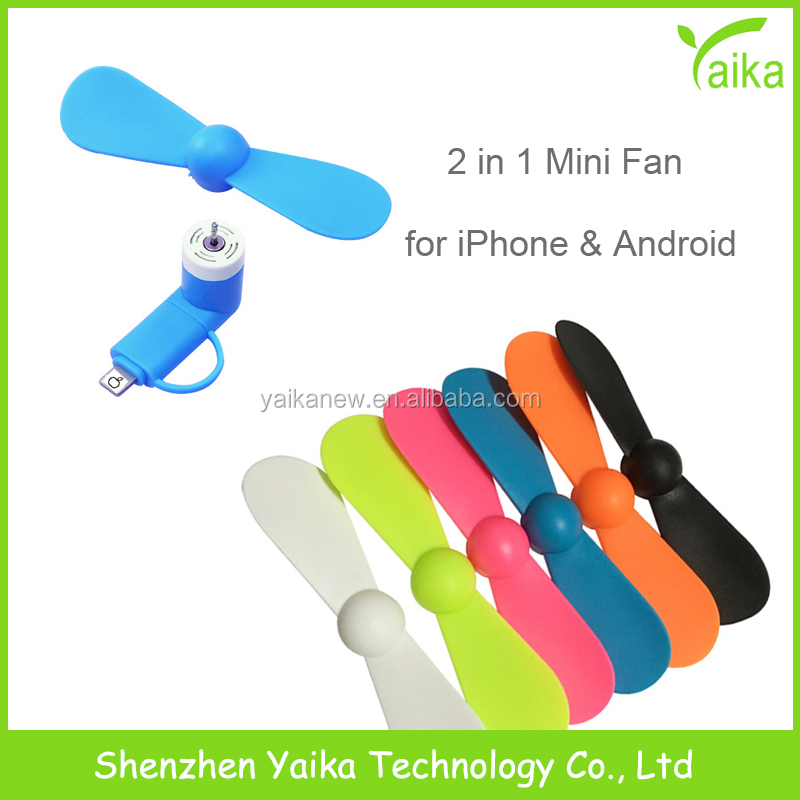 Yaika Promotional Gift 2 in 1 Mini USB Phone <strong>Fan</strong> for iPhone Micro Custom Logo