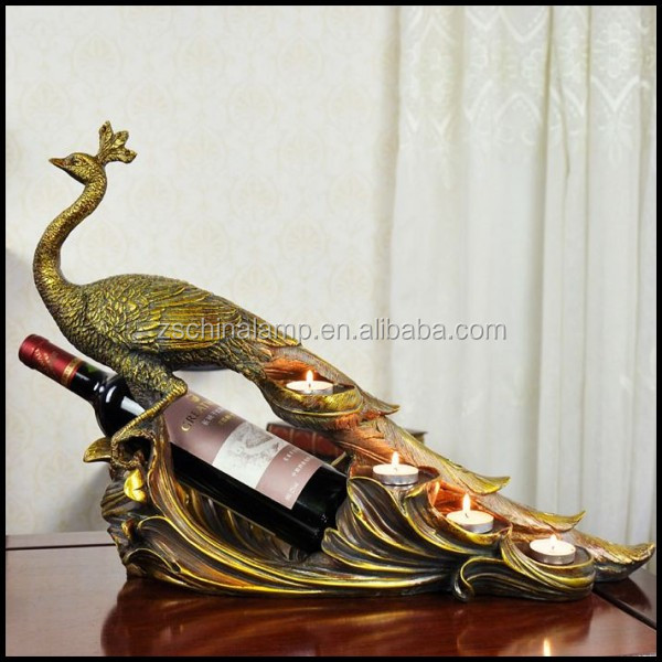 Luxury Antique Resin Peacock Sculpture Wine Bottle Candle Holder With Four Bowl For Primitive Home Decor And Home Bar Furniture