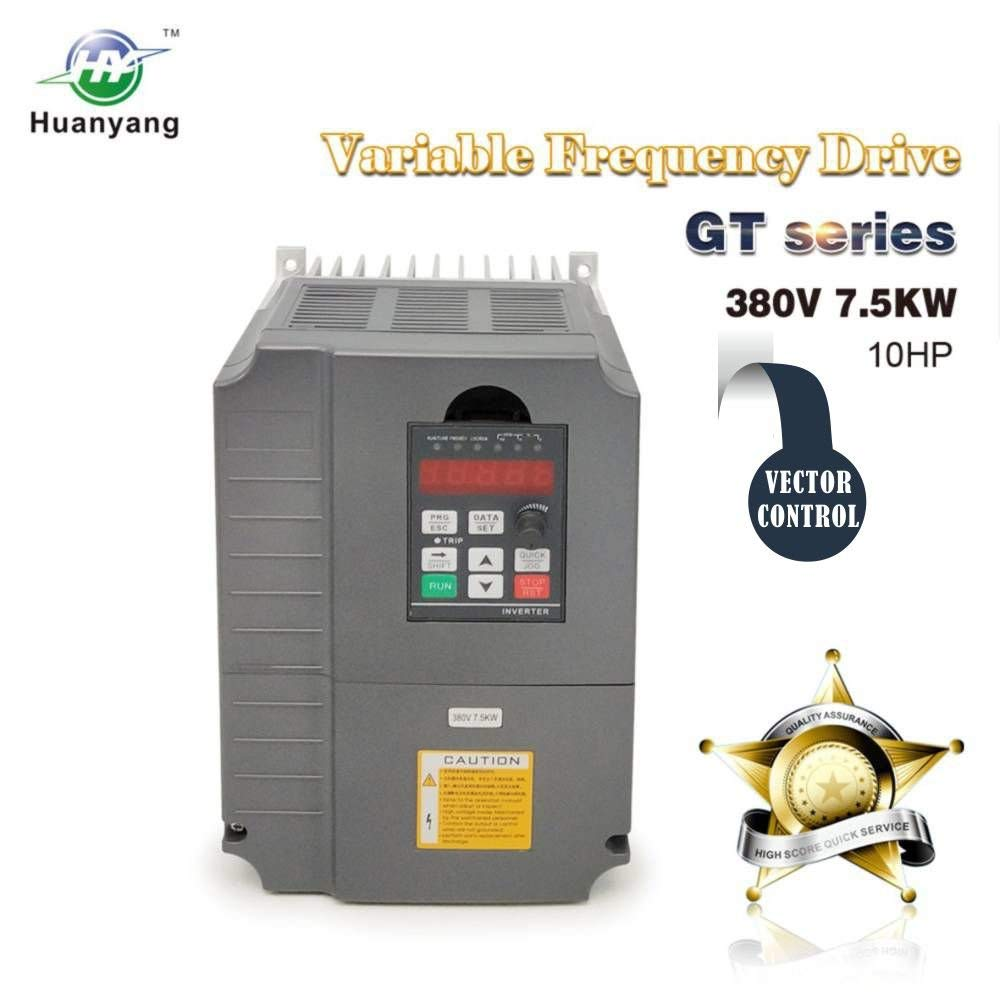 Vector Control CNC VFD Variable Frequency Drive Motor Drive Inverter Converter 380V 7.5KW 10HP For Spindle Motor Speed Control HUANYANG GT-Series (380V, 7.5KW)