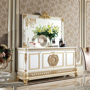 YB62 Luxury French Baroque Style Dining Room Glass Sideboard & Hutch/ 4-Door Handmade Carved Kitchen Cupboard Furniture