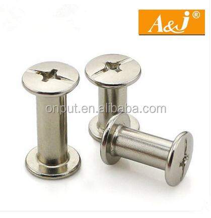 nickel plating book binding rivet screw/ screw rivet