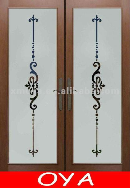 Cheapest double wrought iron doors with blinds glass inside for sales interior door designs 2012