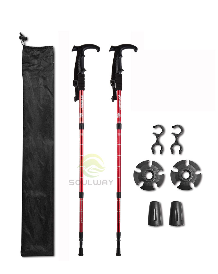 New Quick Lock System 66/%Carbon Telescopic Trekking Hiking Stick Walking Pole