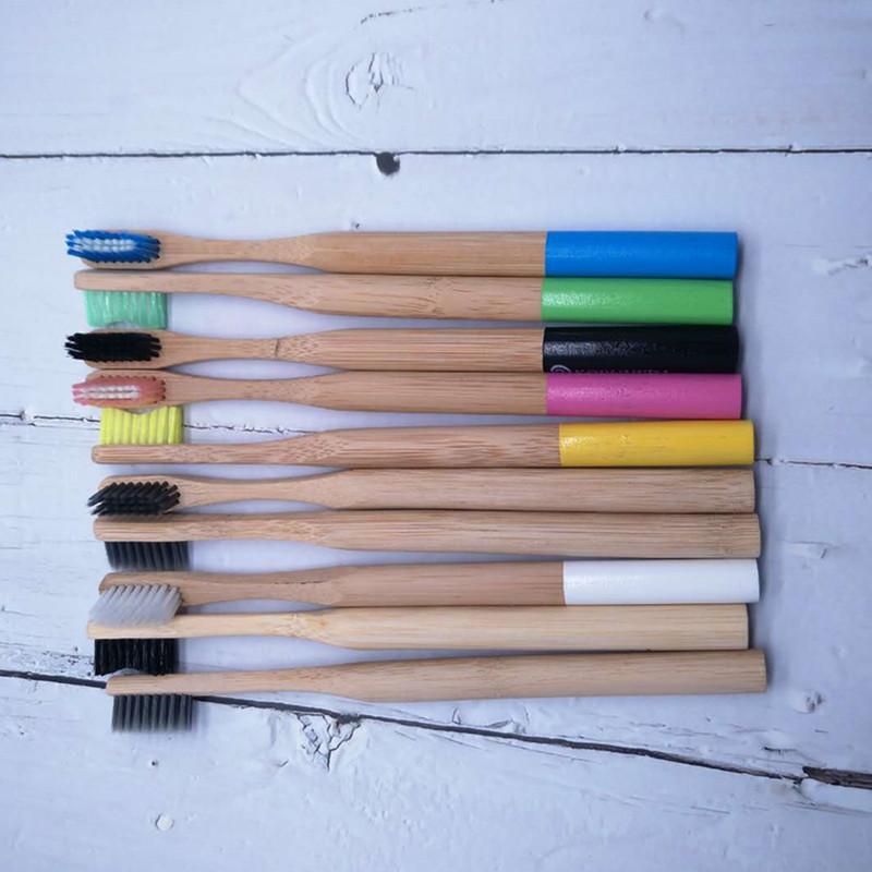 Natuurlijke Bamboe Volwassen Tandenborstel Organische Plantaardige Zachte BPA Gratis Haren