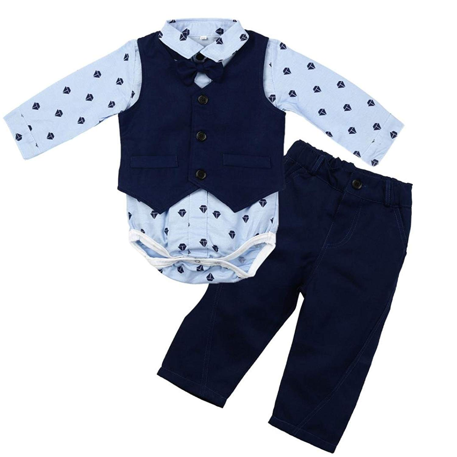 aa92b93bd Get Quotations · Boy Clothes Set for 0-24 Months,3Pcs Infant Toddler Baby  Boy Long Sleeve