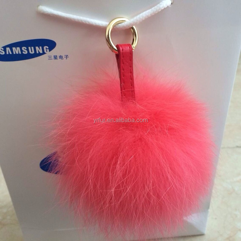 YR468 Top Quality Genuine Fox Fur Ball/Key Chain Fur Ball