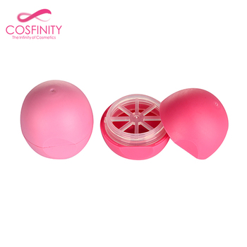Factory direct plastic cute round waterproof cosmetic package pink empty lip balm ball container