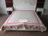 xl twin bedding red rose floral printed cotton quilted bedspread