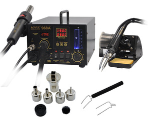 3 in 1 Soldering station for Aoyue 968A+ Soldering iron with Hot Air Gun and smoke absorber