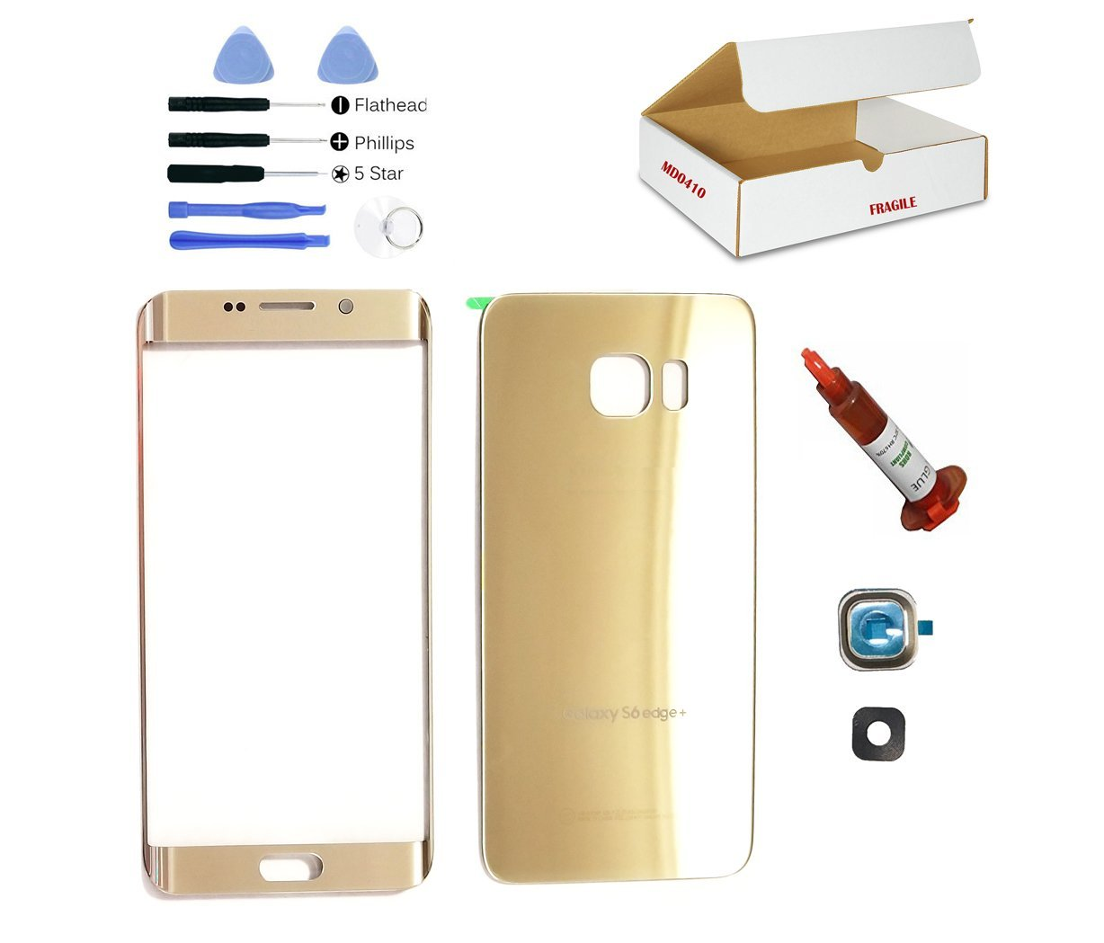 (md0410) Gold front outer glass lens + back cover + camera lens cover Compatible Galaxy S6 Edge Plus G928 replacement + adhesive + glue + Tools (LCD screen & touch digitizer not included)