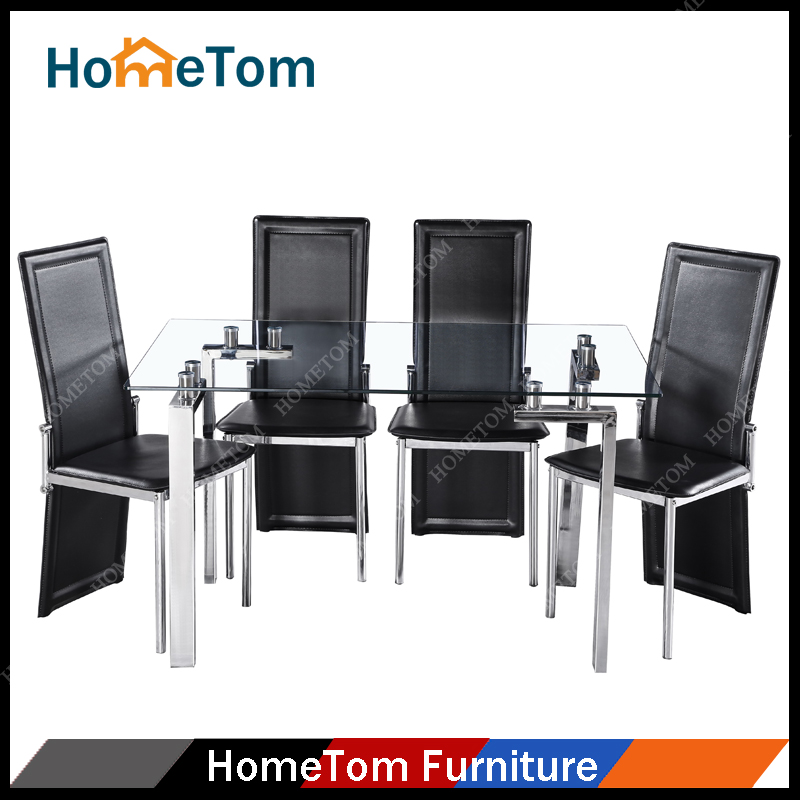 Direct Factory Selling High Quality Rectangular Dining Table Chrome Chairs