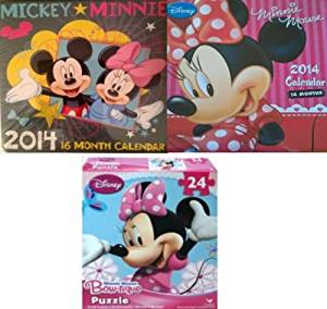 Disney Minnie Mouse 16 Month Calendar & Mickey & Minnie Mouse 2014 Calendar -16 Month, Bonus Disney Minnie Bow-tique Puzzle