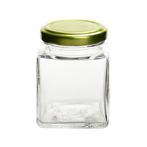 FDA certificated square shaped honey glass jar jam / pudding jar with screw metal lid