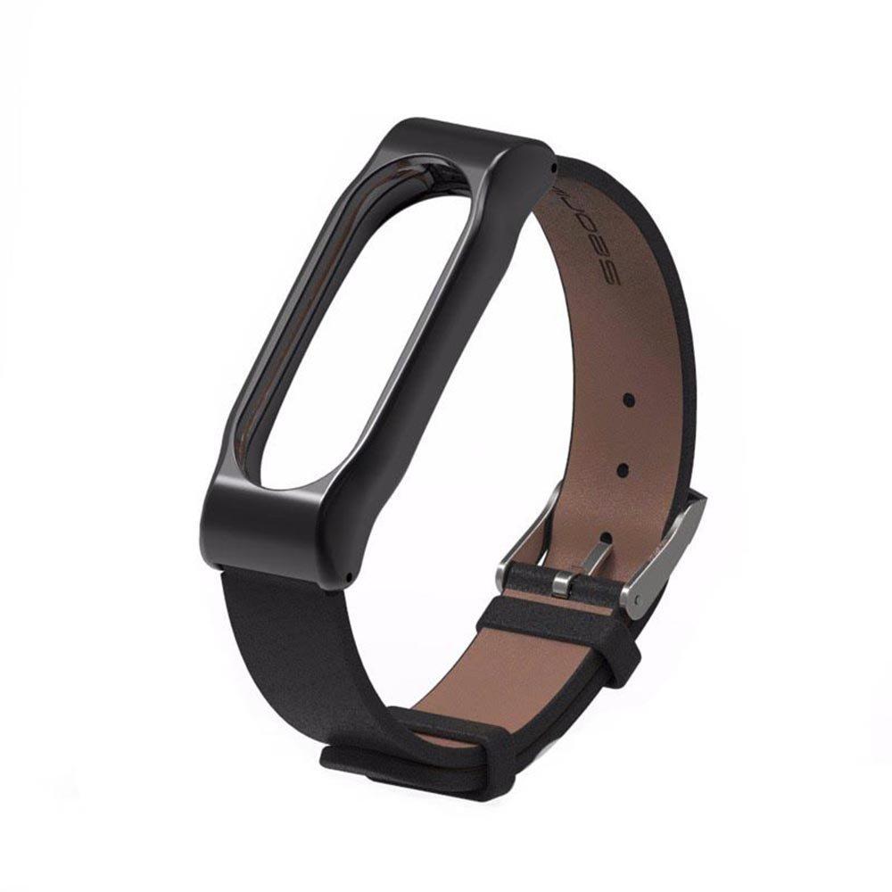 Rubility Smart Strap Leather Wrist Band Bracelet Cattlehide Strap For Xiaomi Mi Band 2 Screwless Magnetic Metal Watchcase (Black)