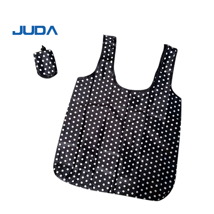 Hot selling customized logo nylon polyester Recyclable vest shape t-shirt hand tote shopping bags
