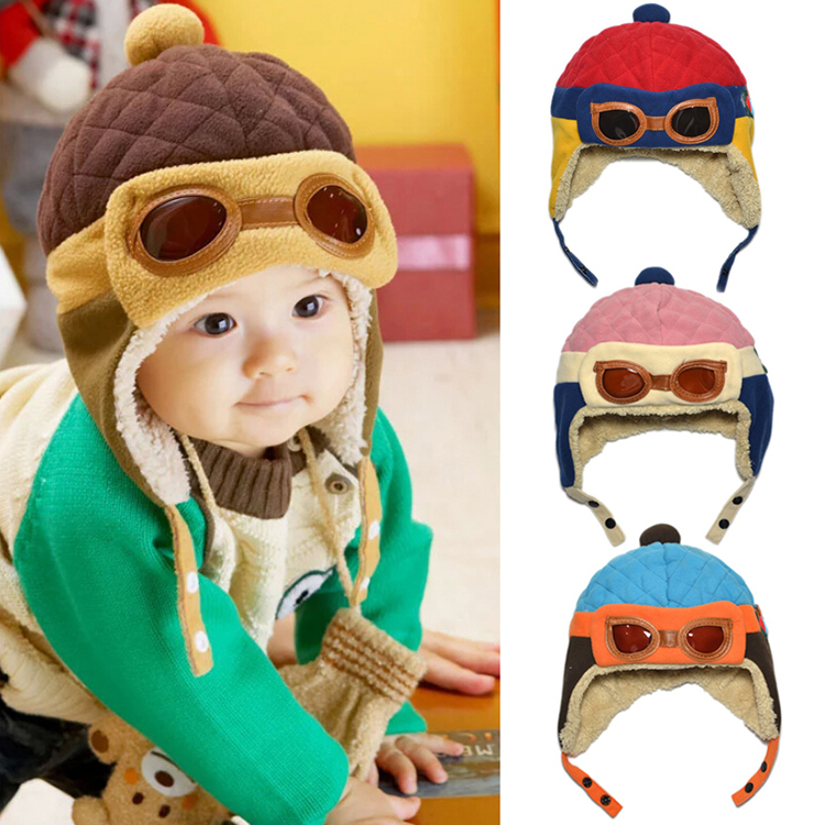 Hot sales Toddlers Cool Baby Boy Girl Kids Infant Winter Pilot Aviator Warm  Cap Hat   YE117 983ec98a2c8