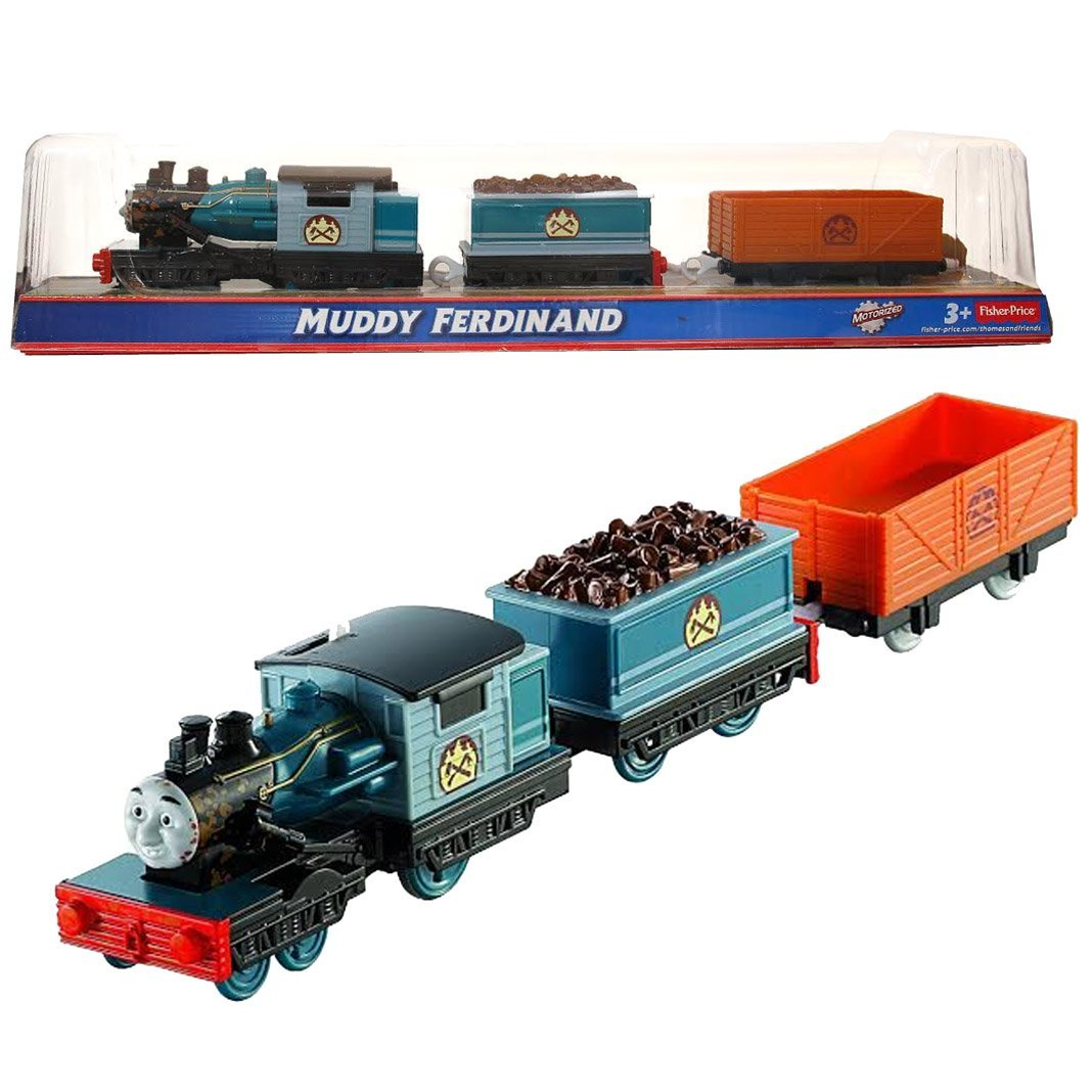 "Fisher Price Year 2013 Thomas and Friends Greatest Moments Series Trackmaster Motorized Railway Battery Powered Tank Engine 3 Pack Train Set - MUDDY FERDINAND with ""Wood"" Loaded Car and Empty Freight Car"