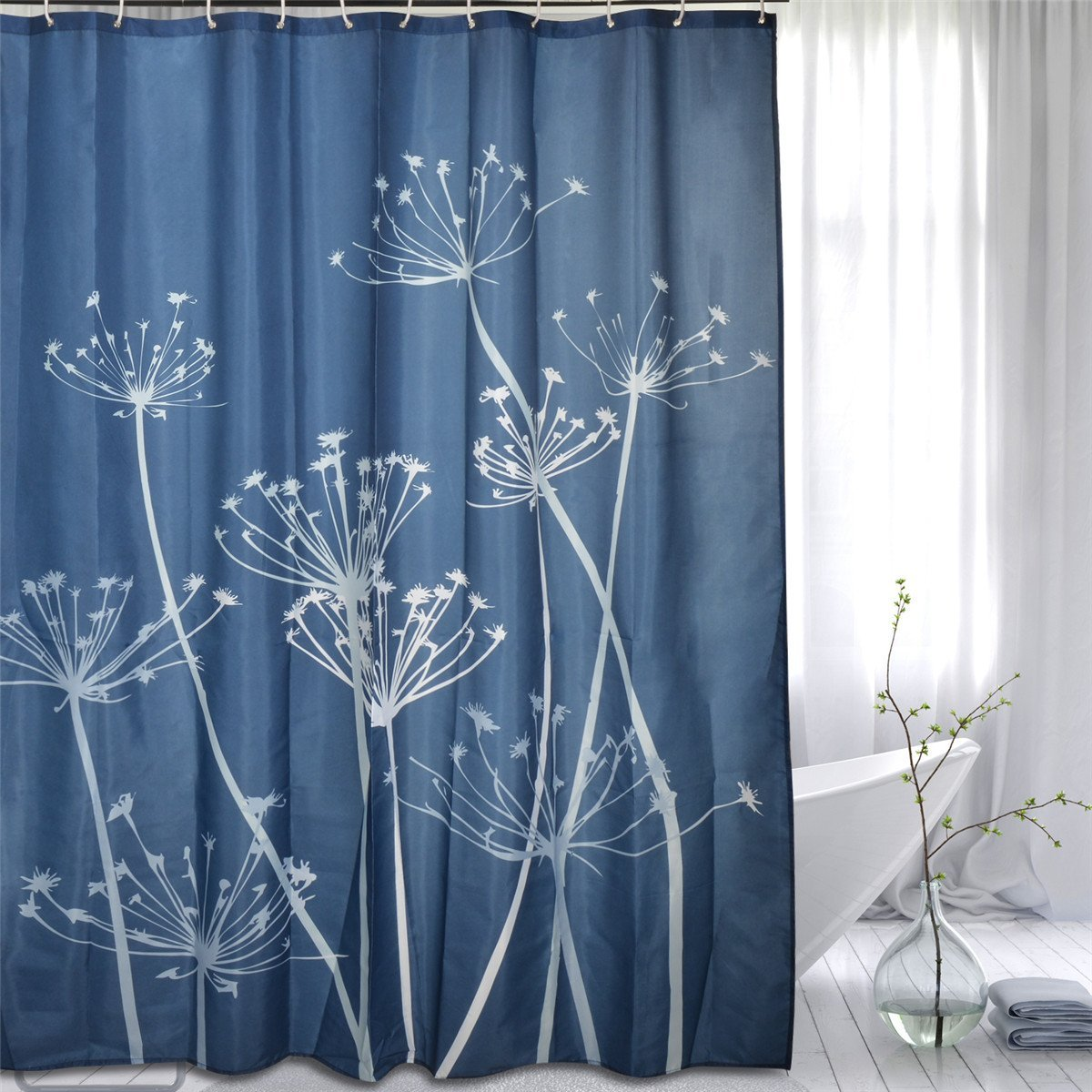 FashionMall Mildew Resistant Polyester Fabric Shower Curtain 72-Inch by 72-Inch Dandelion Anti-bacterial Waterproof Water-Repellent With 12 Hooks (72-Inch by 72-Inch, Blue)