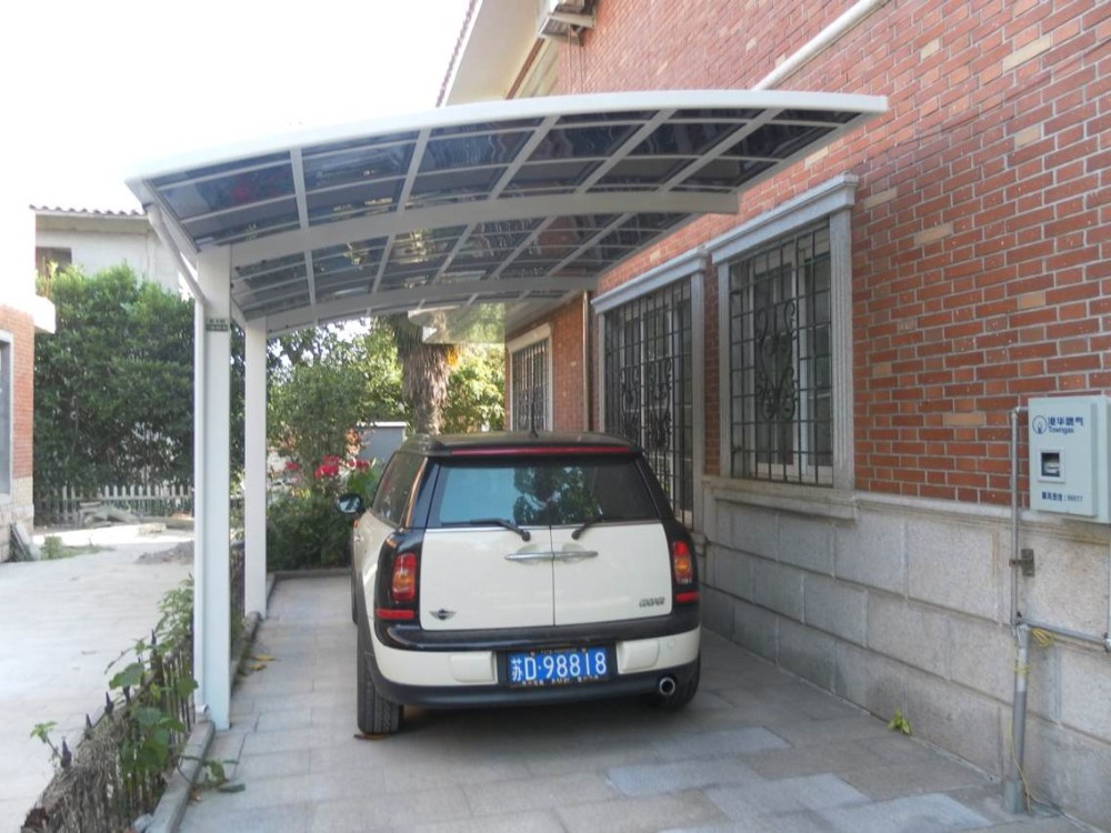 Curved Roof Aluminum Carport Polycarbonate Cantilever