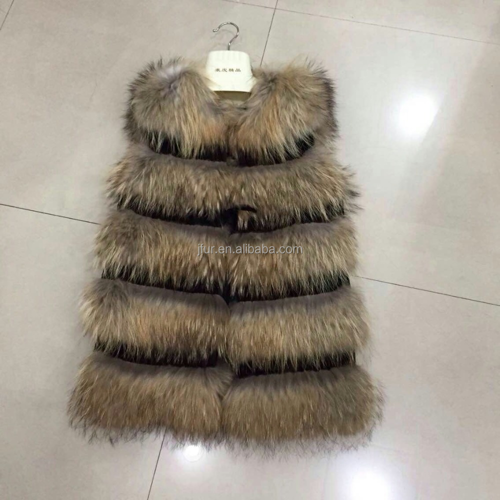 Modern long fur coat ladies leather fur vest women raccoon fur vest