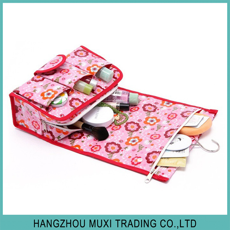 floral print waterproof toiletry bag for hanging foldable travel cosmetic organizer