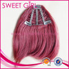 alibaba China supplier hot sell Brazilian virgin closure hair fringe bangs in Burg with clip in hair extension