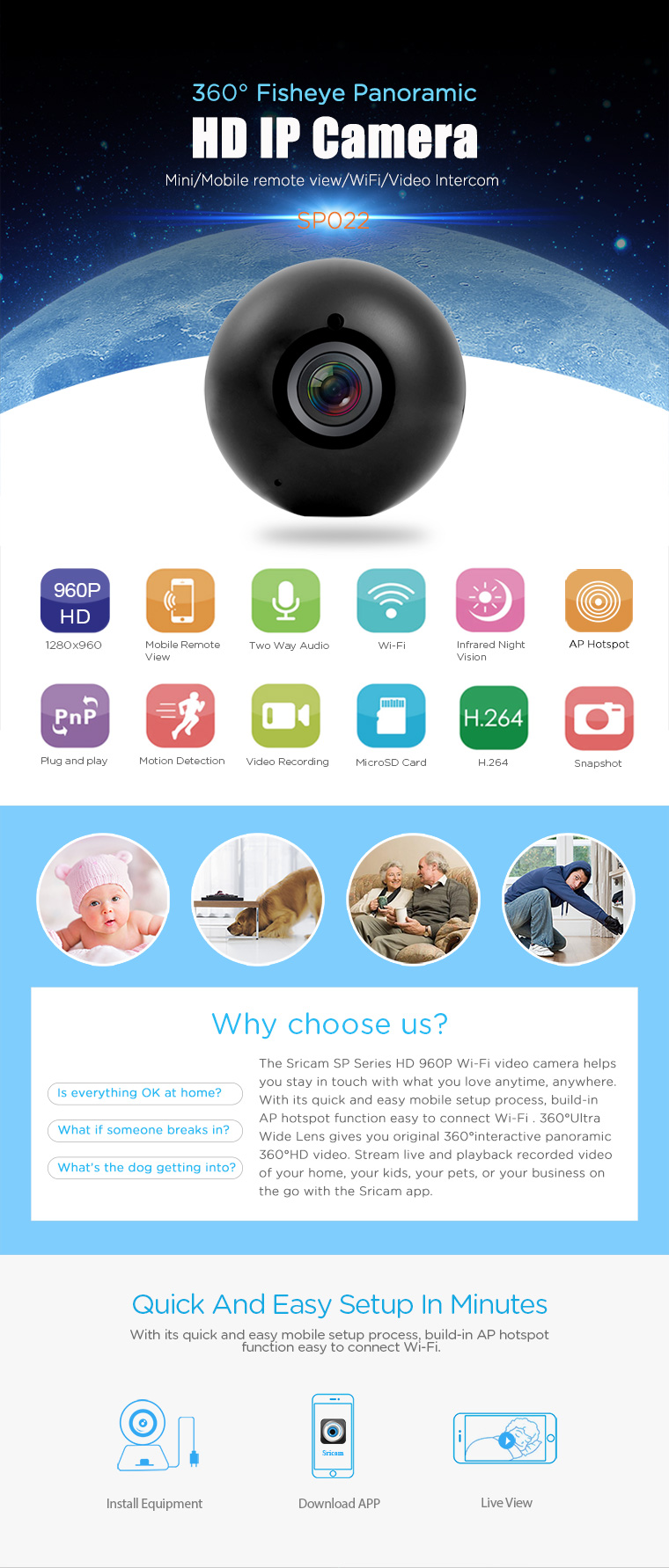Hhot sale sricam SP022 1 3MP baby monitor 360eye WiFi Camera for home &  office security, View 360eyes wifi camera, Sricam Product Details from