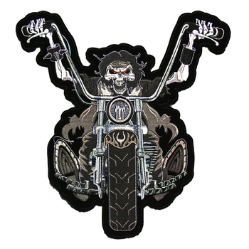Custom large size motorbike embroidery felt patch for leather clothing