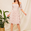 Women Fashion Design Summer Casual Off Shoulder Fit & Flare Guipure Lace Dress