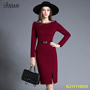 Hot Sales New Fashion Temperament OL Slim Fit Sim Waist Long Sleeve Girl's Patchwork Dress