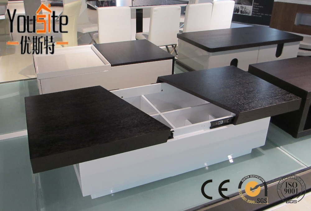 Foshan Furniture Factory Tell World Modern Hidden Storage Black And White Lacquer Coffee Table