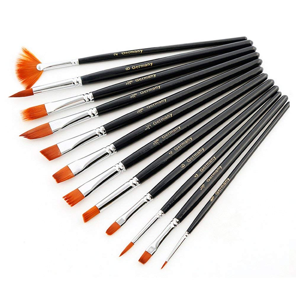 Acrylic Paint Brush Set, ROSKY Professional Fine Tip Paint Brush Set Round Pointed Tip Nylon Hair artist acrylic brush for Acrylic Watercolor Oil Painting, Gift for Artists, Adults & Kids