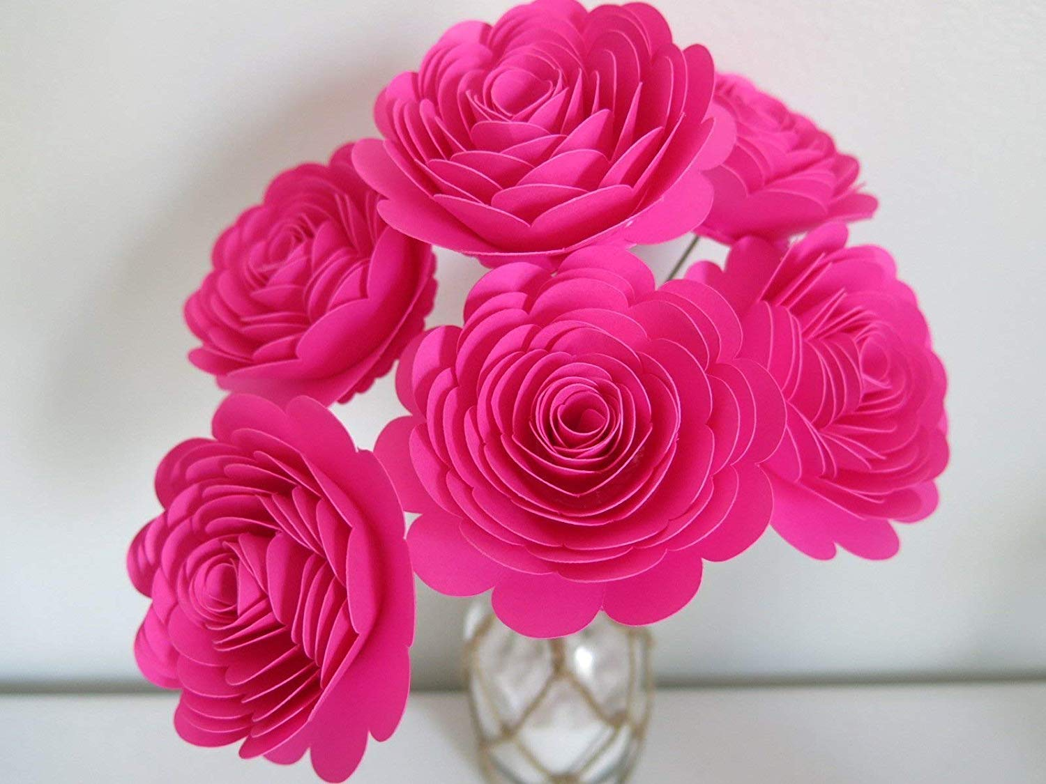 Get Quotations Fuchsia Paper Roses On Stems Set Of 6 Large 3 Flowers Hot