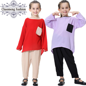 619# Mini Pocket Design Cute Muslim Abayas for Children Arabia Malay Kids Girls Islamic Clothing Patchwork Long Shirt Pants Sets