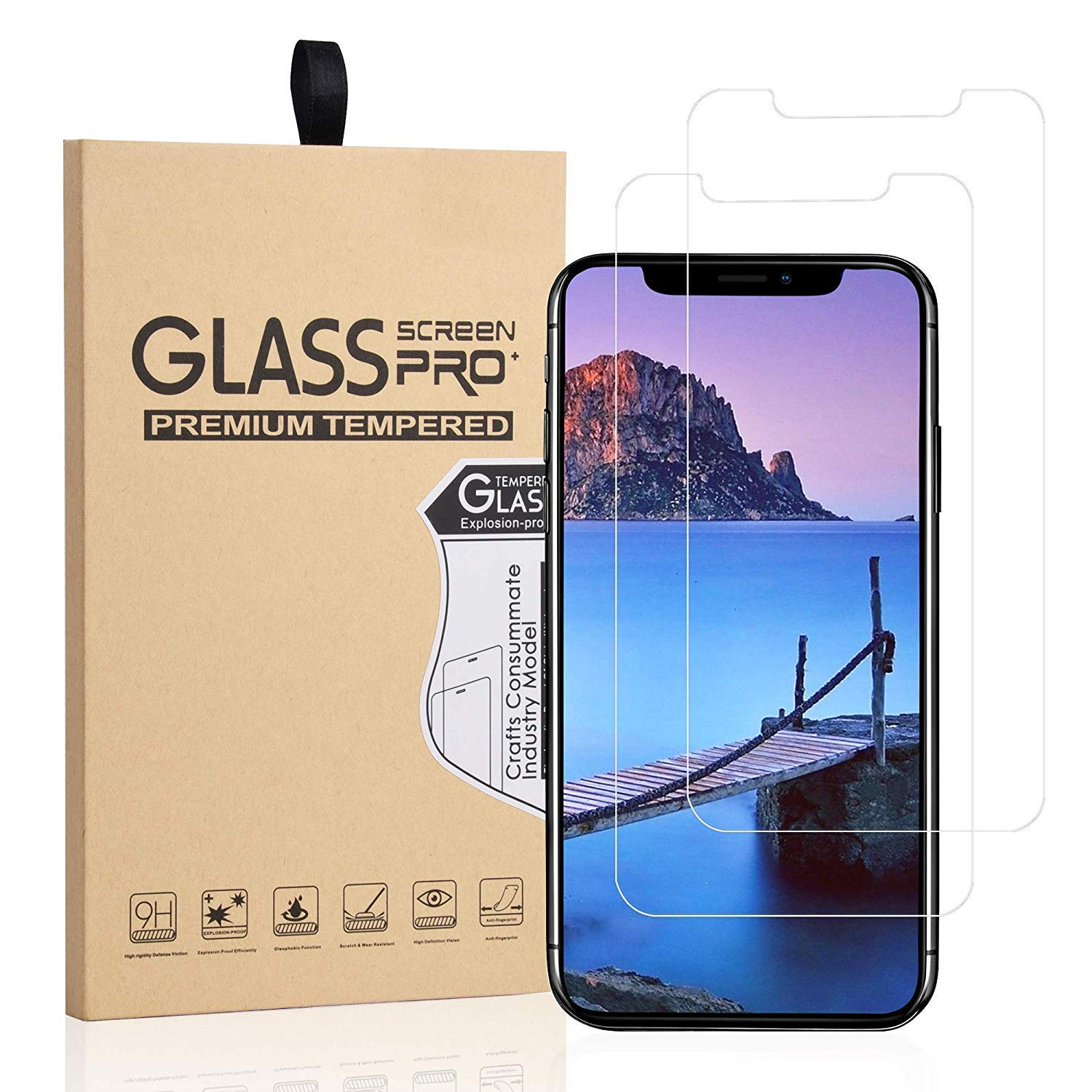Abacus24-7 Screen Protector for iPhone Xs Max - Tempered Glass, 9H, 0.33mm [2-Pack]