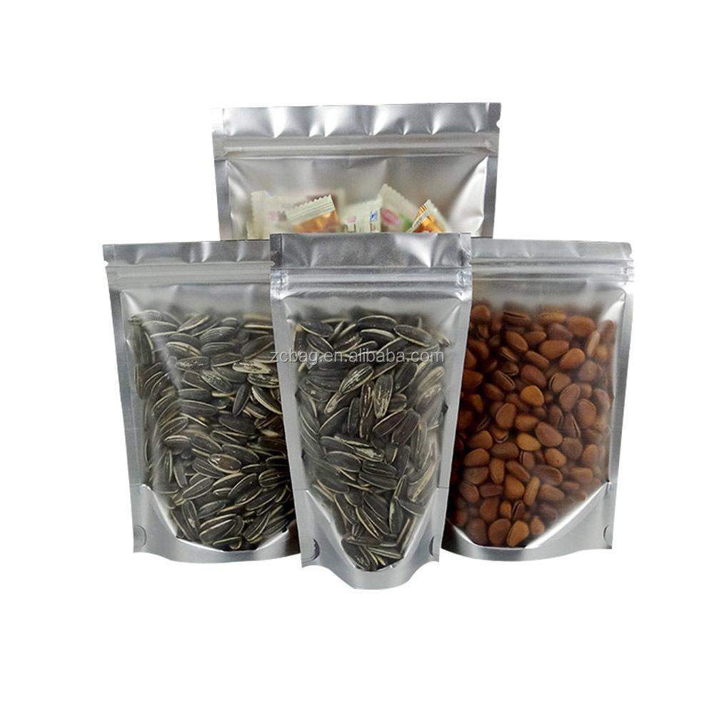 Silver Zipper Top Dual Shield Clear Front Stand-Up Food Pouches Mylar Aluminum Foil Laminated Plastic Tea Cinnamon Packaging Bag