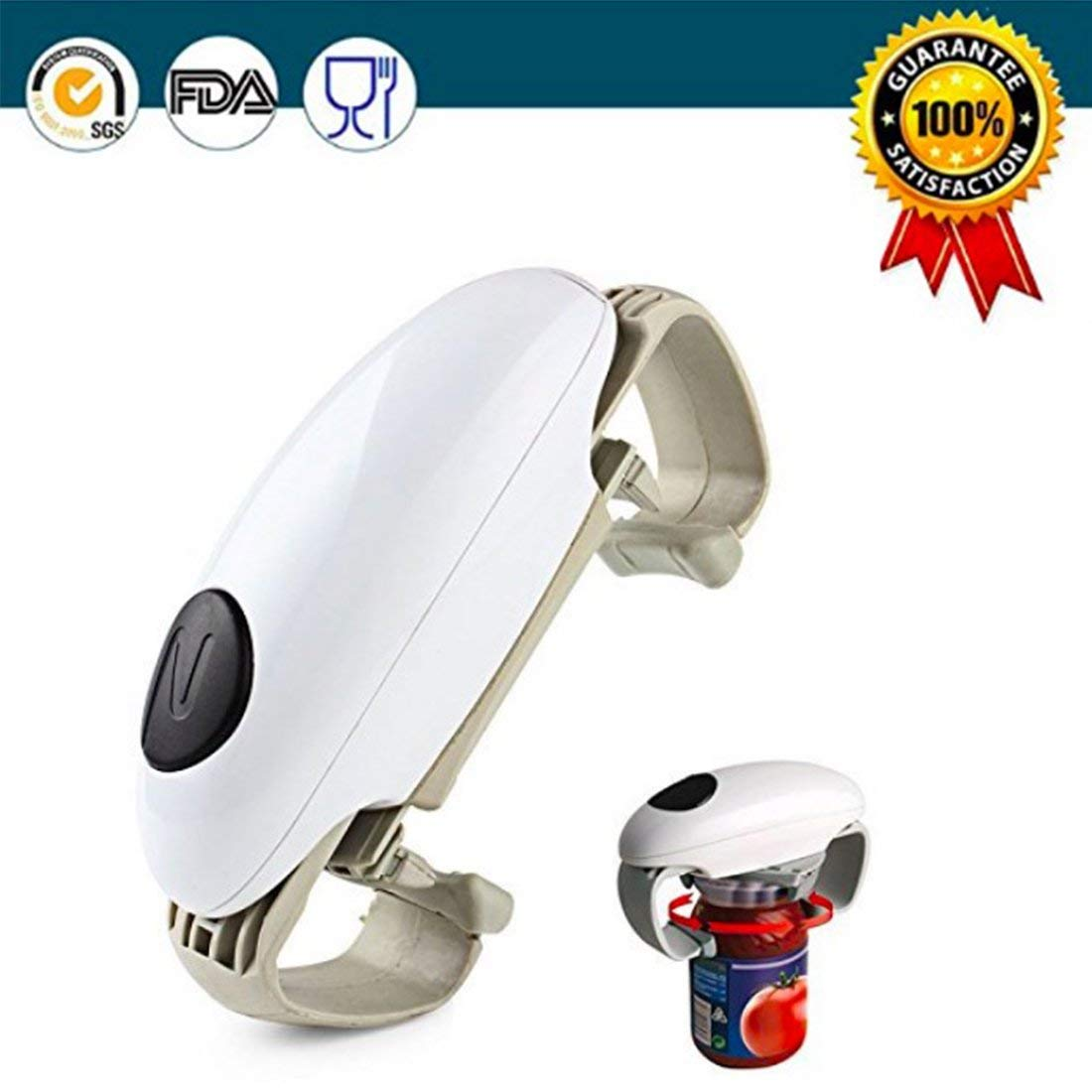 Electric Can Opener 2AA Batteries Tin Operated Smooth Soft Edge Hands Free One Touch Start Automatic Jar Opener for Arthritis Individuals, Seniors, Restaurant Chefs Safest, fastest, Easiest Bottle Jar