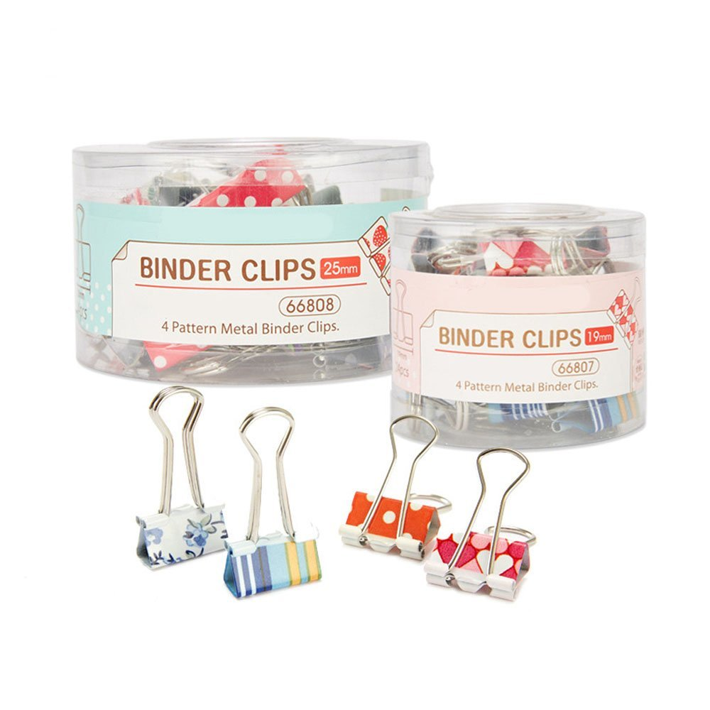 SparrK Cute Printing Style Metal Binder Clips/paper Clips/ Clamps(1 Box 24 Sets) (3.81.9CM)