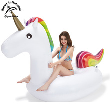 Rainbow Commercial Custom Logo Giant Inflatable Unicorn Swimming Pool Float Toy