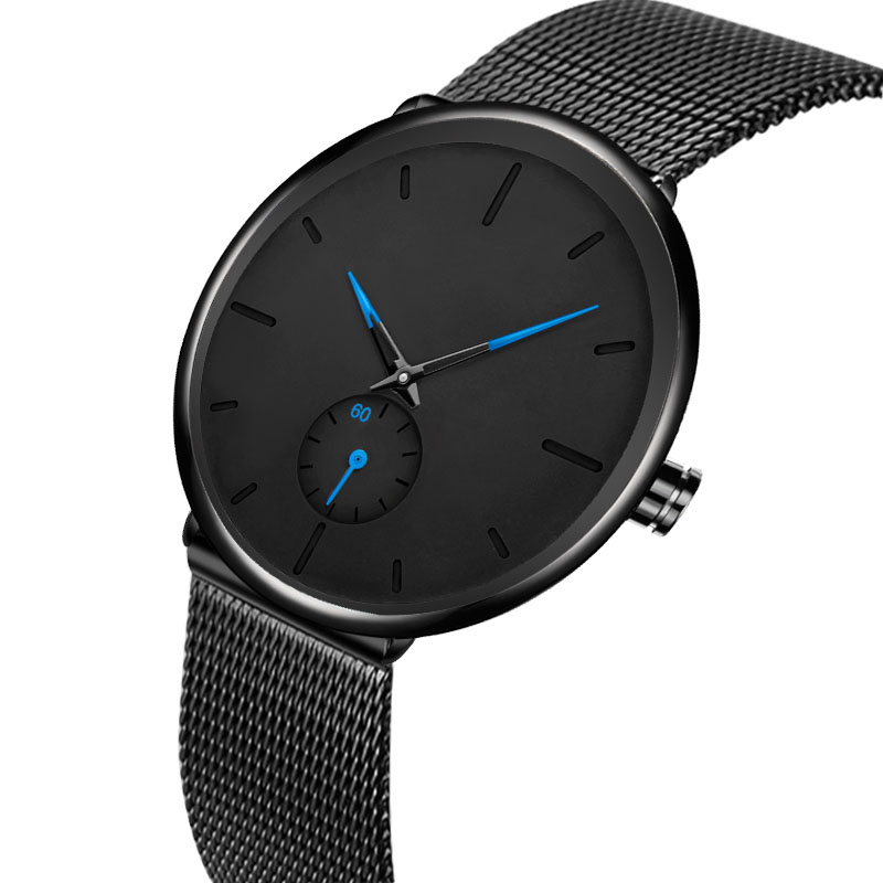Brand Men Watch Deep Blue/Black Ultra Thin relojes hombre Wrist Watches for Men relojes hombre OEM